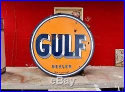Original 1950's Porcelain Gulf Dealer Advertising Sign Gas Oil DS