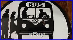 Original 1953-1959NJ Public Service Double Sided Porcelain Bus/Police Dept. Sign