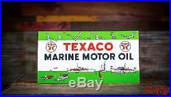 Original 1953 Texaco Marine Motor Oil Porcelain Sign
