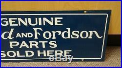 Original 1960'S GENUINE FORD & FORDSON PARTS SOLD HERE porcelain dealership sign