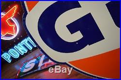 Original 1960's Porcelain Gulf Dealer Advertising Sign Gas Oil Station WILL SHIP