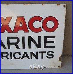 Original 1962 Texaco Marine Lubricants Porcelain Sign 15 x 30 Lot#BA62