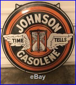 Original 30 Johnson Time Tells Double Sided Porcelain Double Hour Glass Sign