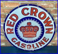 Original 30 Red Crown Gasoline Porcelain Sign
