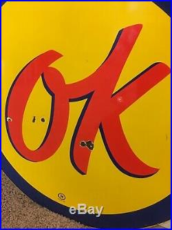 Original 36 Porcelain Chevrolet Used Cars OK Sign Gas Oil Sign Automotive Neon