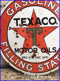 Original 42 Texaco Gasoline Filling Station Motor Oil Porcelain Enamel Sign