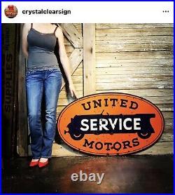 Original 48 1920s Porcelain United Motors Auto Service Station Dealership Sign