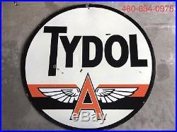 Original 48 Double Sided Porcelain Tydol Flying A Veedol Sign Texaco Mobil