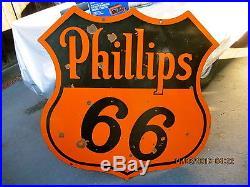 Original 48 Phillips 66 Oil Gas Service Station Porcelain Advertising Sign
