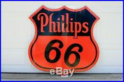 Original 48 Phillips 66 Two Sided Die-Cut Porcelain Sign Gas Oil Advertising