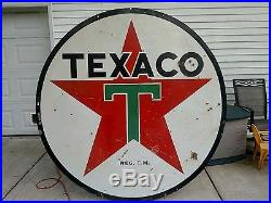 Original 6 foot porcelain texaco sign double sided