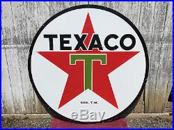 Original 72 Texaco Gasoline Double-sided Porcelain Sign