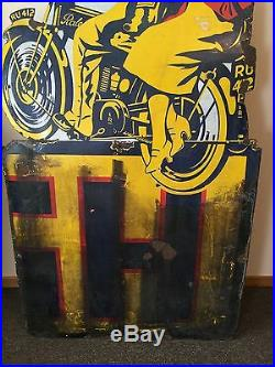 Original Antique Raleigh Motorcycle Porcelain Sign Gas Oil Service Station