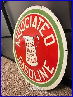 Original Associated Gasoline Early Flying A Double Sided Porcelain Sign