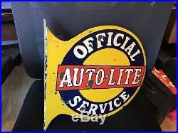 Original Auto-lite Porcelain Flange Sign