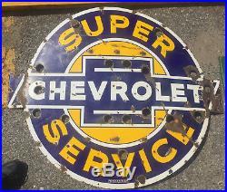 Original CHEVROLET SUPER SERVICE Porcelain NEON Ford Dealership Gas Oil Sign