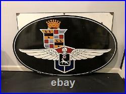 Original Cadillac LaSalle Porcelain Lighted Hood Sign