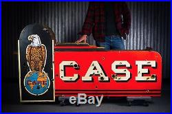 Original Case Tractor Porcelain Neon Gas Oil Farm Machinery Sign