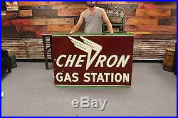 Original Chevron Gas Station Porcelain Double Sided Sign