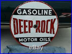 Original Deep Rock Motor Oils Porcelain Sign 48 Gasoline Double 2 Sided
