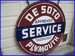 Original Desoto Plymouth Porcelain Dealership Sign, Beautiful