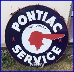 Original Double Sided Porcelain Pontiac 48 Dealership Sign