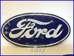 Original FORD PORCELAIN NEON SIGN from 1932 Deuce Chevy Gas & Oil Dealership 32