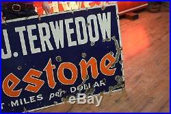 Original Firestone Tires Porcelain Gas Oil Sign 5ft Service Station 1930's Early