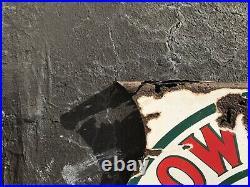 Original Flanged Red Crown Gasoline Porcelain Steel Double Sided 25 1/2 Sign
