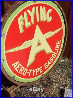 Original Flying A Aero-Type Gasoline Double Sided Porcelain Sign WithOriginal Ring