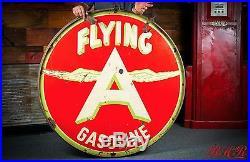 Original Flying A Gasoline Chicken Win 48 Porcelain Gas Oil Sign