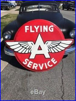 Original Flying A Porcelain Embossed Button Sign 42