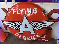 Original Flying A Service embossed porcelain sign