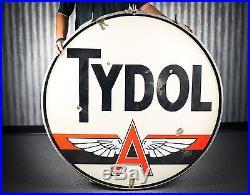 Original Flying A Tydol Porcelain Gas Oil Sign