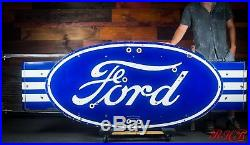Original Ford Dealership Automotive Gas Oil Porcelain Neon Sign