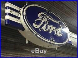 Original Ford Dealership Automotive Porcelain Neon Sign 3' x 8