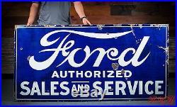Original Ford Sales & Service Porcelain Gas Oil Dealership Sign
