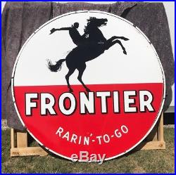 Original Frontier Gas Station Porcelain Sign 6 Double Sided With Porcelain Can