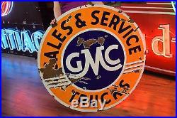 Original GMC Trucks Porcelain Dealership Sign 42 2 sided Gas Oil Station Advert