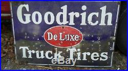 Original Goodrich Deluxe truck tires Porcelain Sign gas oil