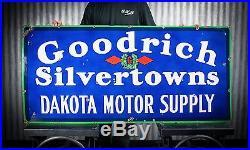 Original Goodrich Silvertowns Dakota Tire & Motor Porcelain Sign gas oil