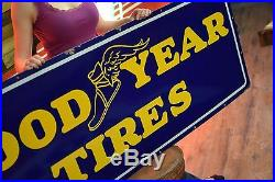 Original Goodyear Porcelain Sign Tires Service Gas Station Oil Advertising 40's