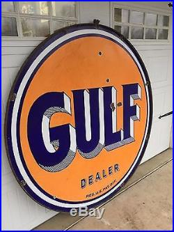 Original Gulf Dealer 66 inch Double-sided Porcelain Sign + Hanger Attached