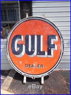 Original Gulf Dealer Gas Oil Station 65 Double Sided Porcelain Sign + Rare Ring