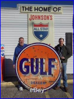 Original Gulf Dealer Oil Gas Service Station 65 Porcelain Advertising Sign