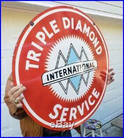 Original International Harvester Triple Diamond Porcelain Sign 2 Sided Gas & Oil