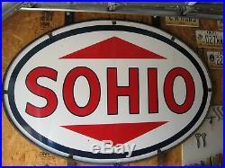 Original Large 2 Sided Sohio Porcelain Sign