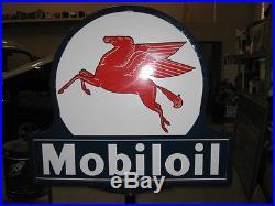 Original Large Mobiloil Socony-vacuum Porcelain Lollipop Sign