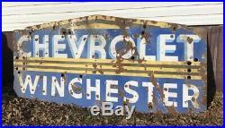 Original Large Porcelain Neon Chevrolet Winchester Dealership Sign