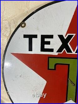 Original Large Vintage Texaco 15 Inch Heavy Gas & Oil Porcelain Dealer Sign